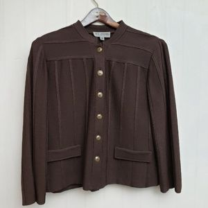 St. John Collection Brown Knit Blazer Jacket Sz 12